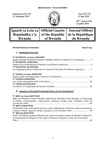 Igazeti ya Leta ya Repubulika y'u Rwanda Official Gazette ... - minicom