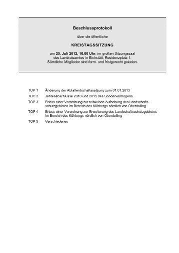 Beschlussprotokoll der 02. Kreistagssitzung - Landkreis Eichstätt