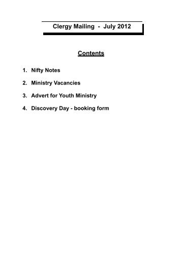 MAILING CONTENTS PAGE - Diocese of Southwell and Nottingham