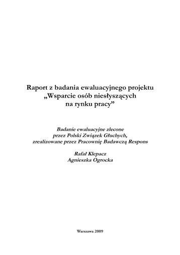 Raport z badania ewaluacyjnego projektu - Europejski Fundusz ...