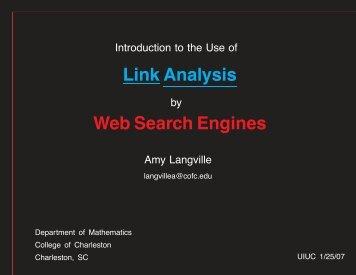 Link Analysis Web Search Engines - College of Charleston