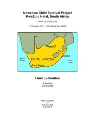 Ndwedwe Child Survival Project KwaZulu Natal, South Africa Final ...