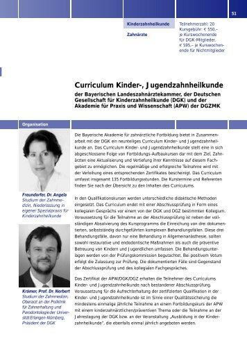 Curriculum Kinder-, Jugendzahnheilkunde - eazf