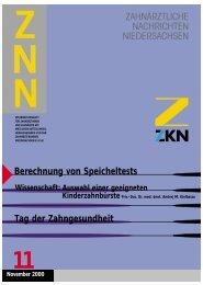 zur berechnung von speicheltests - Zahnärztekammer Niedersachsen