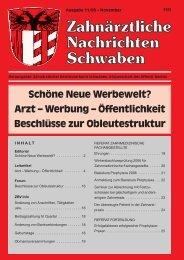 Zahnärztliche Nachrichten Schwaben 11/2005 - Zahnärztlicher ...