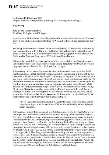 Einleitung von W. Rohrer (PDF, 36Kb) - Stiftung Bildung und ...