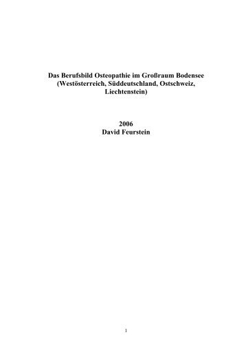 Das Berufsbild Osteopathie im Großraum Bodensee - Osteopathic ...