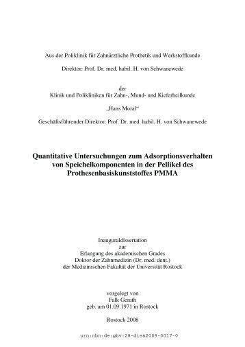 Quantitative Untersuchungen zum Adsorptionsverhalten von ...