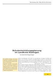 Schulentwicklungsplanung im Landkreis Esslingen