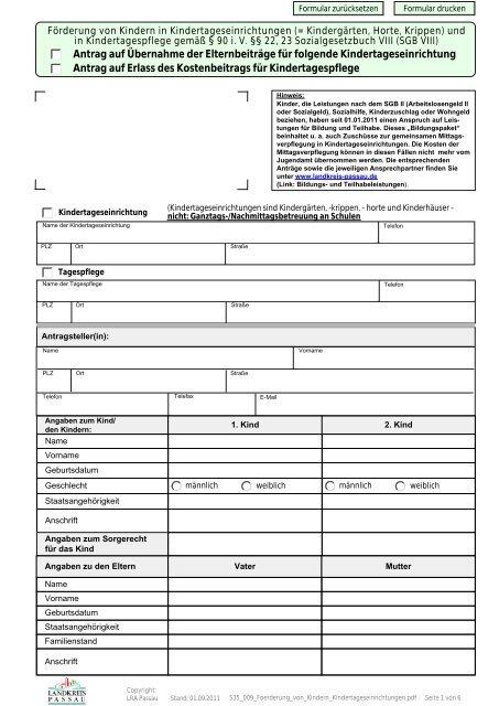 Antrag auf Erlass des Kostenbeitrags für ... - Landkreis Passau