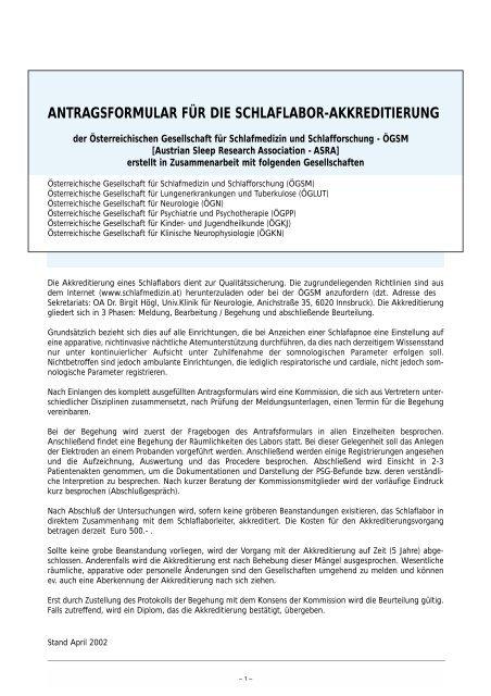 antragsformular für die schlaflabor-akkreditierung - Österreichische ...