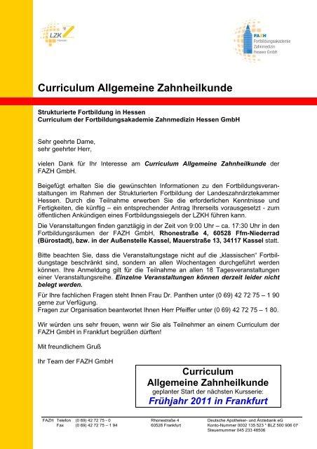 Curriculum Allgemeine Zahnheilkunde - Landeszahnärztekammer ...