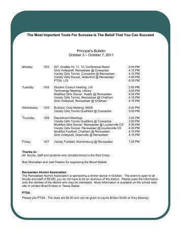 Principal's Bulletin 10-3 - Rensselaer City School District