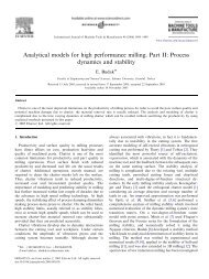 Analytical models for high performance milling. Part II - Sabanci ...