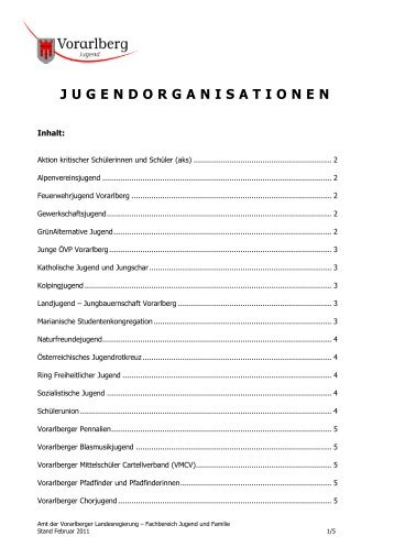 JUGENDORGANISATIONEN - Das Land Vorarlberg im Internet