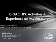 CDAC activities on many cores and - HPC Advisory Council