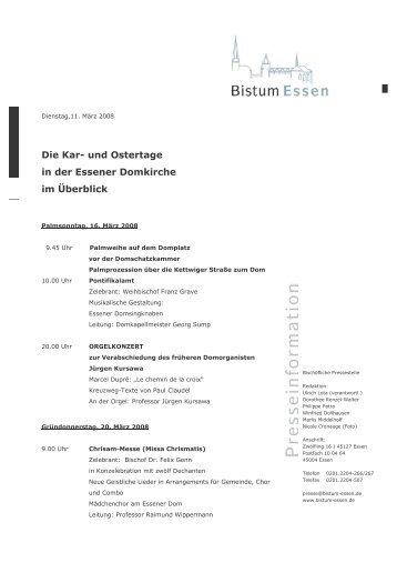 Die Kar- und Ostertage in der Essener Domkirche im ... - Bistum Essen