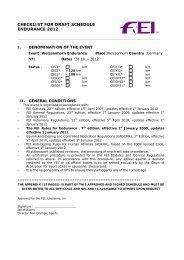 CHECKLIST FOR DRAFT SCHEDULE ENDURANCE 2012