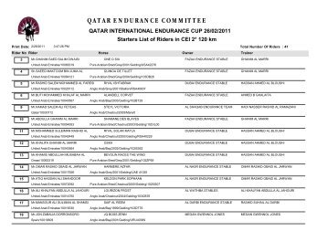 QATAR ENDURANCE COMMITTEE