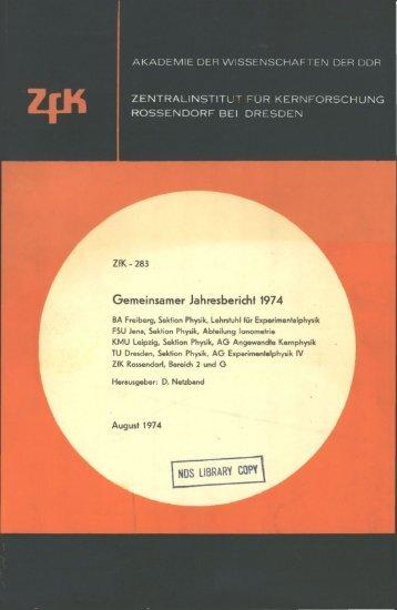 AKADEMIE DER WISSENSCHAFTEN DER DDR ZfK ...