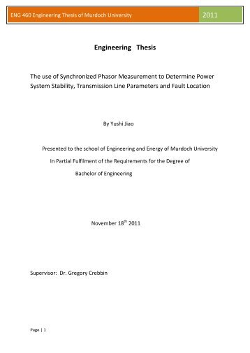 ENG 460 Engineering Thesis of Murdoch University