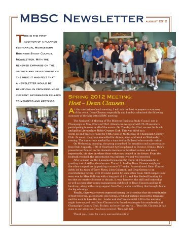 (MBSC) August 2012 Newsletter - Galarnyk & Associates, LTD.