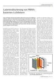 Laserstrukturierung von PMMA- basierten Lichtleitern - Laser Magazin