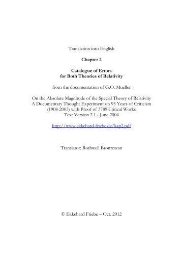 Catalogue of Errors for Both Theories - Kritische Stimmen zur ...