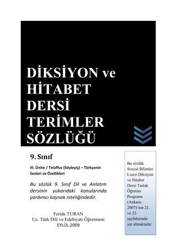 DİKSİYON ve HİTABET DERSİ TERİMLER SÖZLÜĞÜ - Eskişehir Eti ...