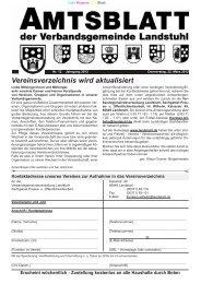 Vereinsverzeichnis wird aktualisiert - Verbandsgemeinde Landstuhl