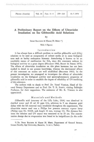 A Preliminary Report on the Effects of Ultraviolet Irradiation on the ...