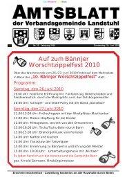 Auf zum Bännjer Worschtzippelfest 2010 - Verbandsgemeinde ...