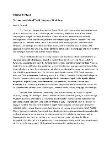Received 5/1/12 St. Lawrence Island Yupik Language Workshop
