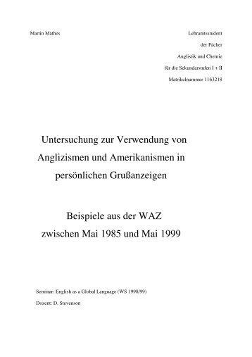 Untersuchung zur Verwendung von Anglizismen und ...