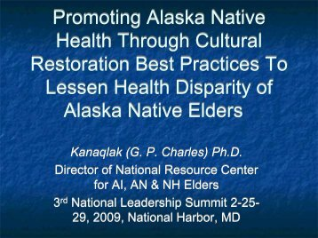 Promoting Alaska Native Health Through Cultural Restoration Best ...