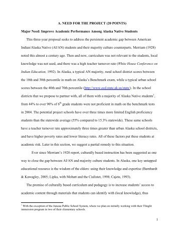 Alaska Native Project Best Proposal Description - University of ...