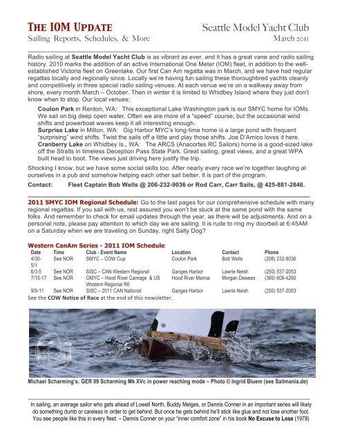 The IOM Update Seattle Model Yacht Club - omyc org