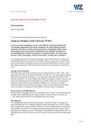 30.04.2009 Medieninformation zur WWZ-Generalversammlung 2009