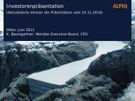 Investorenpräsentation, Juni 2011, Aktualisierte Version der ... - Alpiq