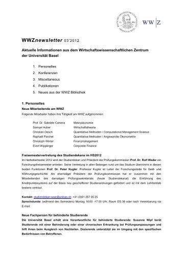 WWZnewsletter 03'2012 - Vereinigung Basler Ökonomen