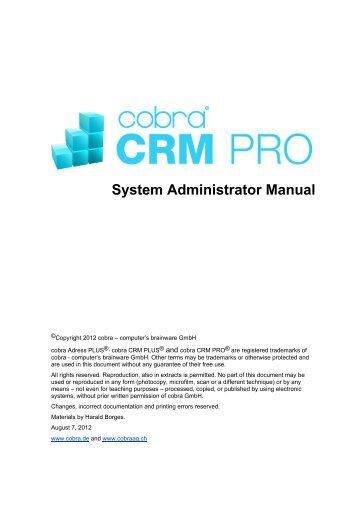 System Administrator Manual CRM PRO, English Version - Cobra