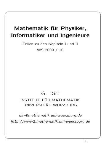 Mathematik für Physiker, Informatiker und Ingenieure G. Dirr