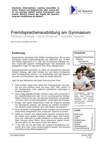 Fremdsprachenausbildung am Gymnasium - KE Research
