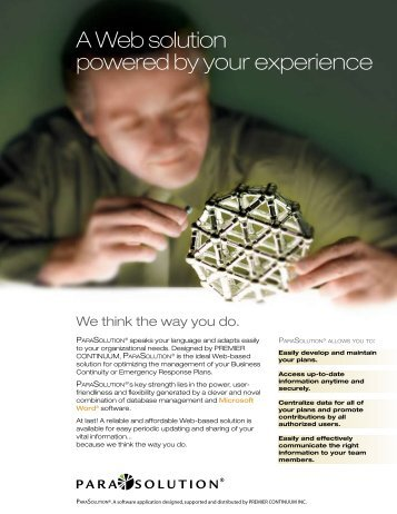 A Web solution powered by your experience - Premier Continuum