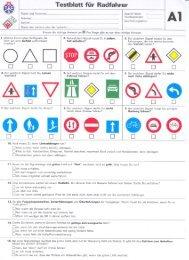 Testblatt für Radfahrer - Fonds für Verkehrssicherheit FVS
