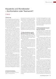 Hausärzte und Wundberater – Konfrontation oder ... - Werner Sellmer