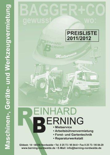 Maschinen-, Geräte- und W erkzeugvermietung - Berning