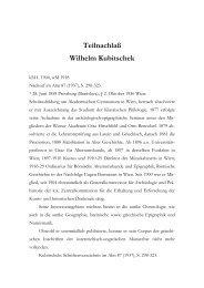 Teilnachlaß Wilhelm Kubitschek - Österreichische Akademie der ...