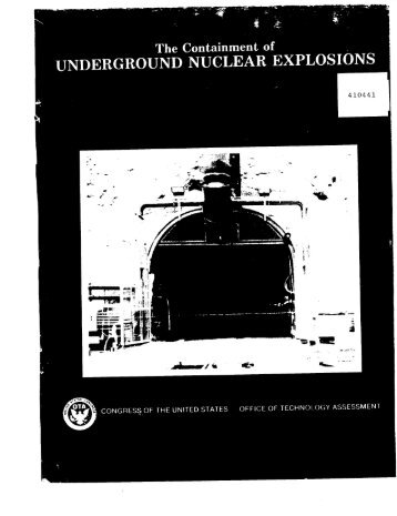 the containment of underground nuclear explosions - Los Alamos ...