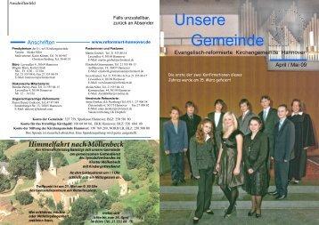 April / Mai 2009 - Evangelisch-reformierte Kirchengemeinde Hannover